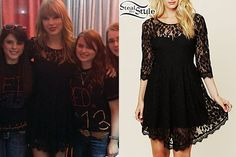 Taylor met fans after the second date of her RED Tour in Omaha wearing a black lace dress.  She wore a Free People Floral Mesh Lace Dress ($128.00).