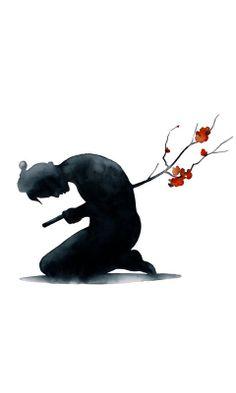 Samurai Artist Pejac (this reminds me of baldir from norse mythology) Ronin Samurai, Samurai Art, Samurai Drawing, Samurai Anime, Samurai Warrior, Aikido, Art Et Illustration, Illustrations, Samourai Tattoo