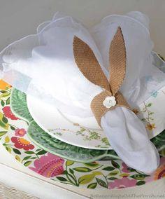 DIY Pottery Barn knockoff burlap bunny-ear napkin rings.