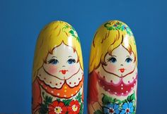 Two Vintage Russian Dolls