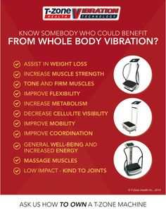 Some of the researched benefits of using Whole Body Vibration Therapy. If you do nothing more for your health, vibration therapy is a must! T-Zone machines are built in an ISO medical manufacturing facility. www.linktogoodhealth.ca #T-Zone #Vibration #linktogoodhealth