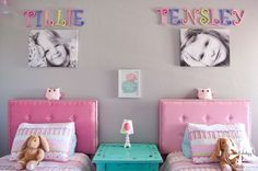 An adorable and cheerful girls' shared bedroom More