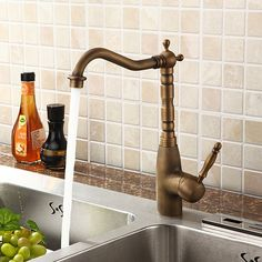 One Hole Ceramic Valve Antique Brass Kitchen Faucet  At FaucetsDeal.com