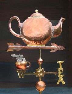 """Teapot Weathervane, 1 Teacup & """"Tea"""" on Directionals by West Coast Weather Vanes.  This teapot with cups weathervane can be made using a variety of designs and materials."""