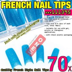 70x Acrylic False Nail Tips French Tips Extensions Glitter Design  $3.50 #nail #nailtips #manicure @one2sell