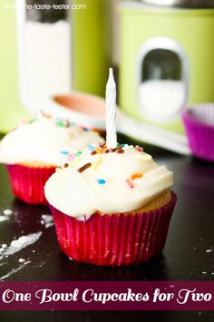frosting for 2 cupcakes recipe; cupcakes for 2 One Bowl Vanilla Cupcakes for Two:1 egg white   2 tablespoons sugar   2 tablespoons butter, melted   1 teaspoon vanilla   1/4 cup flour  1/4 heaping teaspoon of baking powder   pinch of salt   1 1/2 tablespoons milk