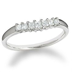 Loving this one!!!!1/4 CTW. Princess-Cut Diamond Contour Band in 14K White Gold - Zales