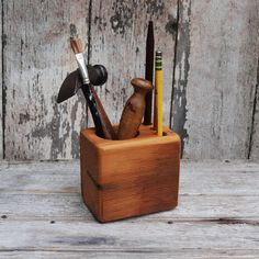 Desk caddy: The Original, rustic, reclaimed wood, Small.