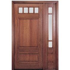 MAI Doors HTC600-1-1 Front Doors On Sale Mahogany Square Top 4-Lite with a Panel Bottom Exterior Door and 1 Sidelite