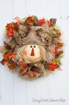 Scarecrow Fall Burlap Wreath for Front Door, Scarecrow Harvest Mesh Wreath, Autumn Plaid Wreath, Thanksgiving Burlap Wreath with Scarecrow - crafty ideas - Scarecrows - Fall Burlap Wreaths For Front Door, Fall Wreaths, Mesh Wreaths, Christmas Wreaths, Scarecrow Wreath, Bee On Flower, White Wreath, Thanksgiving, How To Make Wreaths