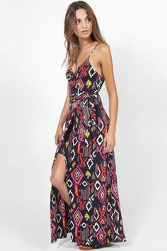 MISA VERONIKA PRINTED SLINKY TIE UP SPLIT LEG MAXI DRESS