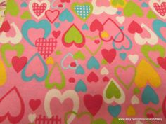 Flannel Fabric  All My Love Pink   1 yard  100% by SnappyBaby
