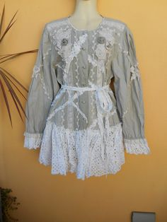 vintage inspired lagenlook cotton jacket....romantic by wildskin, $95.00