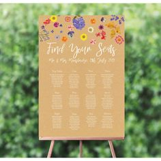 Taking its inspiration from the hobby of pressing flowers, this wedding seating plan is great for those looking to add some colour to their wedding. Card Table Wedding, Wedding Table Flowers, Wedding Cards, Seating Plan Wedding, Wedding Reception, Summer Wedding, Multicolor Wedding, Table Names, Table Seating