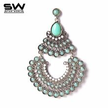 Cheap indian earrings for women, Buy Quality big drop earrings directly from China big earrings Suppliers: Retro bohemian big earrings fashion exaggerated brincos indian drop earring for women new arrival 2017 Boho Necklace, Turquoise Necklace, Women's Earrings, Indian Earrings, Boho Chic, Bohemian, Boho Bags, Fashion Earrings, Boho Wedding