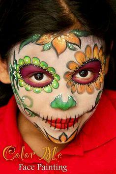 Sugar Skull Face Paint, Sugar Skull Makeup, Sugar Skull Art, Sugar Skulls, Sugar Skull Costume, Candy Skulls, Face Painting Designs, Body Painting, Halloween Looks