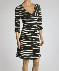 Look what I found on #zulily! Black & White Zebra Surplice Dress #zulilyfinds