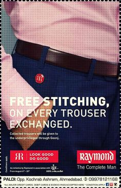 Show your generosity & spread happiness with The Raymond Seconds Shop - Paldi :) 'Exchange your old trousers & get free tailoring of your new trouser' :) Your exchanged trouser will be presented to the unprivileged ones through Goonj! Custom Clothing, Ahmedabad, Gentleman, Trousers, Menswear, Store, Fabrics, Charity, Shopping