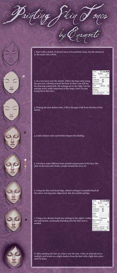 Skin tutorial for Paint Tool SAI by Enamorte on deviantART #enamorte #digitalart #gothicart