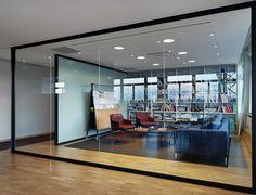 beautiful black framed glazed meeting room