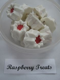 raspberry filled center white chocolates