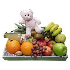 Quality Fruit Baskets. Fruitschaal Vruchtensap  1x Ananas  1x fles  Schulp vruchtensap biologisch 0.75 L.  2x Appels groen  2x Appels rood  3x Banaan  2x Kiwi  1x Druiven  1x Peer  1x Granaatappel  2x Sinaasappel  1x roze beertje