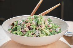 Giada's ~ Sweet and Crunchy Broccoli Salad Recipe from Food Network (She blanches broccoli pieces for 15 seconds - flash cool and dry well on toweling). Best Summer Salads, Summer Salad Recipes, Summer Bbq, Giada Recipes, Cooking Recipes, Healthy Recipes, Healthy Food, Drink Recipes, Free Recipes
