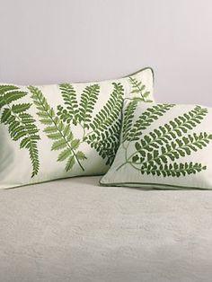 Fern Embroidered Mixed Fern Pillow | LinenSource ($39)