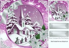 Lovely snow scene of a church with silver pink poinsettias 8x8 on Craftsuprint - View Now!