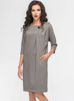 Plaid Buttons Sleeves Above Knee Shift Dress Simple Dresses, Cute Dresses, Casual Dresses, Fashion Dresses, Mode Hijab, Linen Dresses, I Dress, Dress Patterns, Blouse Designs