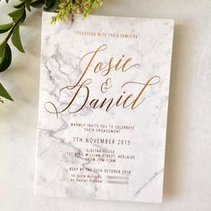 Copper foiling on graphic printed marble background, Modern marble and gold wedding invitations Laser Cut Wedding Invitations, Engagement Party Invitations, Wedding Invitation Design, Wedding Stationary, Wedding Paper, Wedding Cards, Our Wedding, Wedding Favors, Wedding Venues