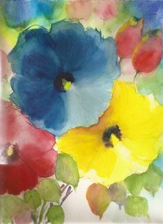 Original Water color Painting Floral Abstract 9x12 WCF-1122. $25.00, via Etsy.