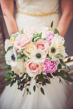 Romantic English Countryside Wedding, Lush, Colorful Bridal Bouquet | Brides.com