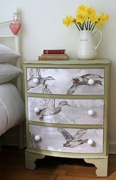 Vintage flying duck papered bow fronted drawers