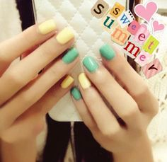 Pastel Colors-made my nails look festive; my green was darker-