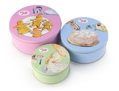Tala Cake Storage Tins Round Set of 3 Pink Green Blue Containers Retro Design