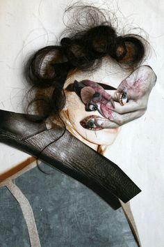 Tumblrification (art,visual art,collage,collage art,vanessa lamounier de assis,portrait,contemporary,modern,mixed media,human hair)