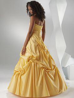 A-line Strapless Floor Length Taffeta Prom Dress