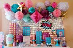 Project Nursery - Girls Super Hero Birthday Party with Pink, Purple and Aqua Decor - Project Nursery