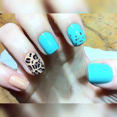 #nails #nailart #mint #leopard #nude #loveit