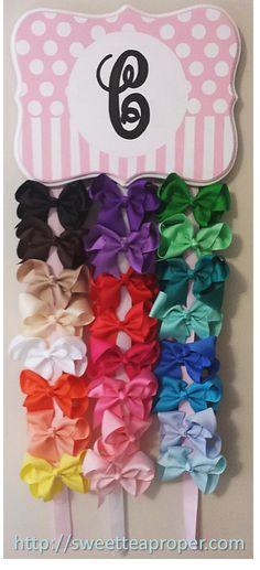 DIY Hair Bow Holder   Monogrammed Hairbow Holder   Pink and White Hair Bow Holder