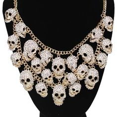 Skull Gathering Necklace and Earrings Set (Goldtone/Ice Crystal): Kirks Folly Online Web Store