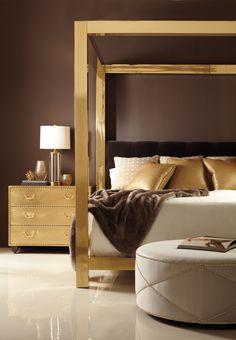 Ah-mazing!!! #Retro #glam in a polished #brass frame and #tufted #headboard! Kensington Kent Jacob Bedroom | Bernhardt #homedecor #interior #interiordesign #highfashionhome