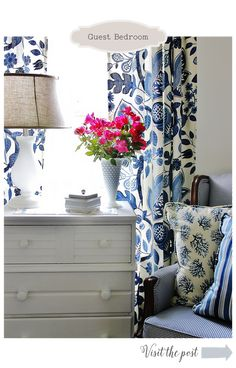 Home Sweet Home Tour again - the blue and white fabric