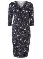 Womens **Maternity Navy Heart Ruched Wrap Dress- Blue