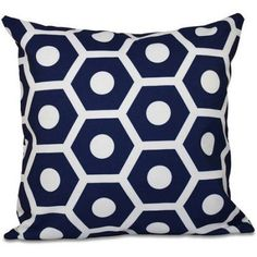 Simply Daisy Geometric Print Decorative Pillow, 16 inch x 16 inch, Blue