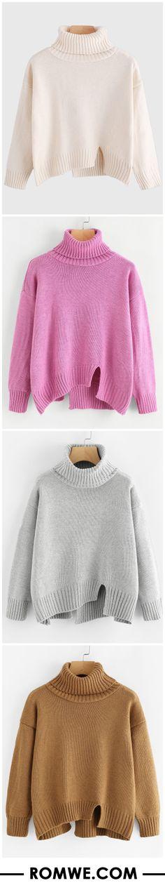Turtleneck Raw Cut Dip Hem Sweater