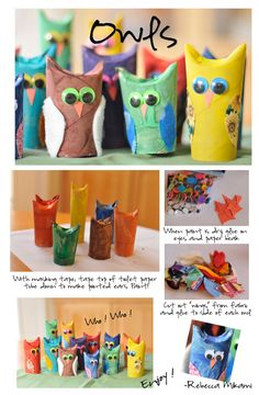 Toilet Paper Tube Owls Hornbuckle, more toilet paper roll crafts. Kids Crafts, Crafts To Do, Preschool Crafts, Projects For Kids, Diy For Kids, Craft Projects, Arts And Crafts, Preschool Teachers, Craft Ideas
