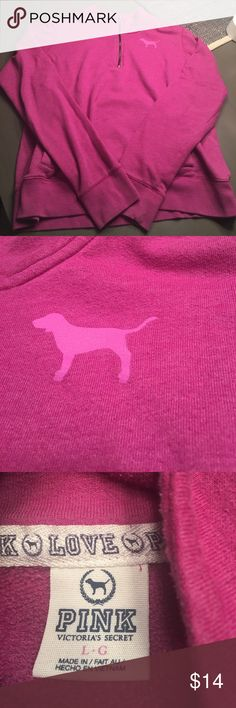 Pinkish purple 3/4 zip pull over pink brand size L Pinkish purple 3/4 zip pullover pink brand size large. No holes rips or stains. Size large. Very minimal piling. Smoke free home. PINK Victoria's Secret Tops Sweatshirts & Hoodies