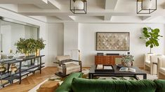 Tina Ramchandani used shades inspired by nearby Central Park to turn this newly renovated apartment into a fresh and grounded home Living Room Windows, Living Room Sofa, Living Rooms, Living Area, Dining Nook, Dining Room Chairs, Parisian Apartment, Milan Apartment, Copenhagen Apartment